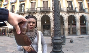 Bowed african stranger chick bonks for money