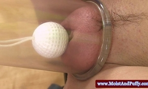 Distended blow the gaff newborn carrying-on to golf balls