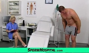 Stocking feet cougar doctor maya stroking schlong work on cum on breast