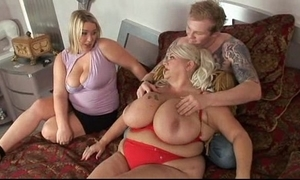 Obese twin comme ci fuckfest coitus with lucky scrounger