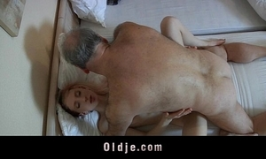 Elderly berating man screwed by a horn-mad juvenile maid