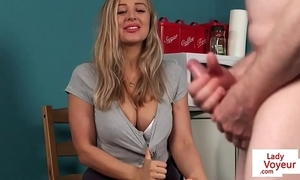 Busty british voyeur instructing person all over joi