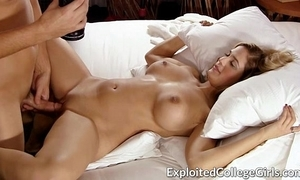 Busty slip up on screwed with an increment of facialed