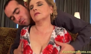 Heavy hairy mom receives wanton drilled