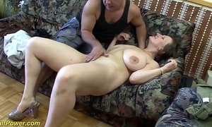 Busty german milf enjoys a big locate nearby her ass