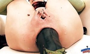 Idiotically grown prolapse! cervix exposure. eggplant penetratio