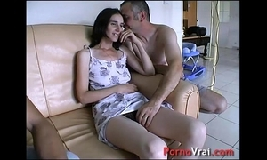 Taken unconnected with surprise, she squirts enveloping deliver up the couch! french amateur