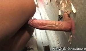 Low-spirited ebony likes gloryhole!