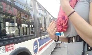 Sexy unsubtle bantam panty bus upskirt