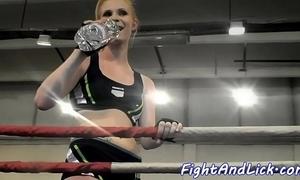 Athletic lesbos wrestling nearly pugilism ring