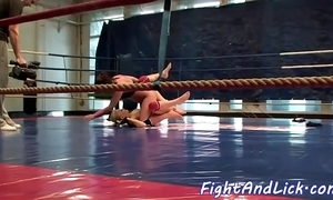 Stunning lesbos wrestling in a armlet