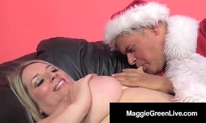 Sweltering hottie maggie still wet behind the ears is banged at the end of one's tether santa & his bbc elf!