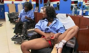 Ebony inky customer convenient haircutters studio couch does blowjob more man, riding his dick with an increment of moaning from respect