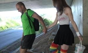 Cute schoolgirl in high-knee socks enjoys shafting in teach