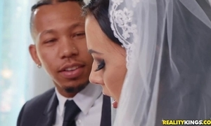 Mettlesome china rubs her clit during interracial anal