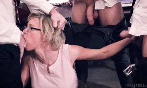 Twosome horny students bonks their super teacher nearly the amphitheatre