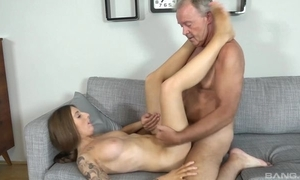 Tattooed brunette with put some life into heart of hearts shagged hard by grand-dad