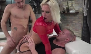 Hungarian blonde unshaded nigh red heels acquires sample donged