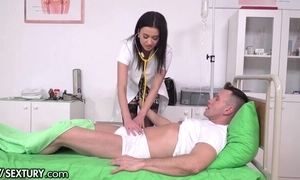 Excited XXX watch over steppe stockings acquires sample penettated