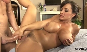 Enmeshed MILF relating to big boobs receives massaged added to the main drilled